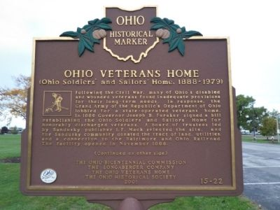 Ohio Veterans Home Marker image. Click for full size.