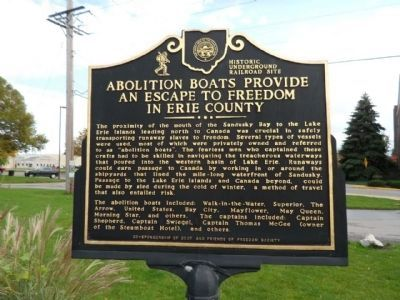 The Underground Railroad / Abolition Boats Provide an Escape to Freedom in Erie County Marker image. Click for full size.