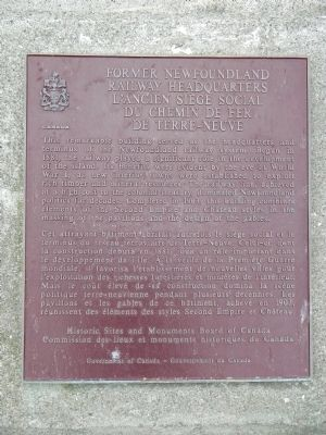 Former Newfoundland Railway Headquarters Marker image. Click for full size.