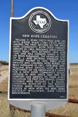 New Hope Cemetery Marker image. Click for full size.