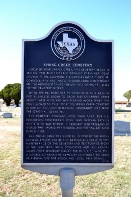 Spring Creek Cemetery Marker image. Click for full size.