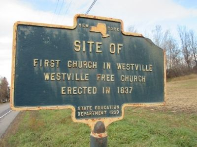 Site of First Church in Westville Marker image. Click for full size.
