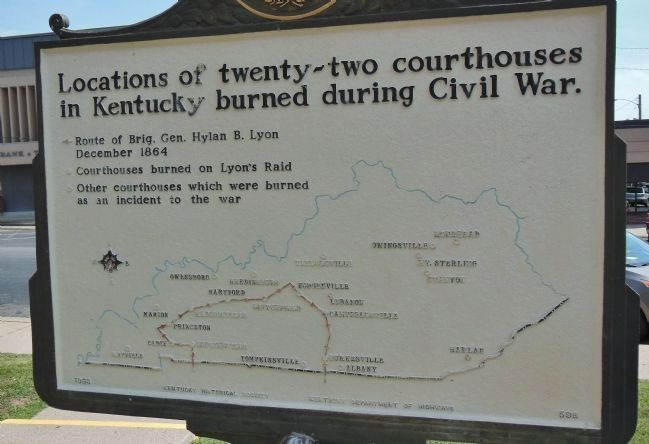 Map of Kentucky Courthouses Burned During Civil War image. Click for full size.