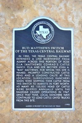 Bud Matthews Switch of the Texas Central Railway Marker image. Click for full size.