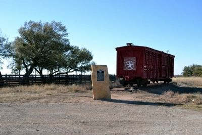 Marker and Rolling Stock of the Texas Central Railway image. Click for full size.