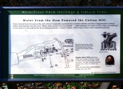 Water From the Dam Powered the Cotton Mill Marker image. Click for full size.
