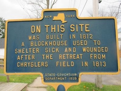On This Site was Built in 1812 a Blockhouse Marker image. Click for full size.
