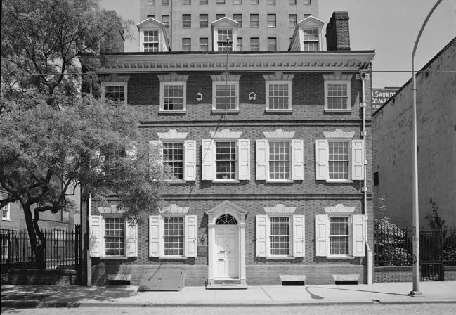 <i>GENERAL VIEW AND WEST (FRONT) ELEVATION, AFTER RESTORATION - Reynolds-Morris House….</i> image. Click for full size.