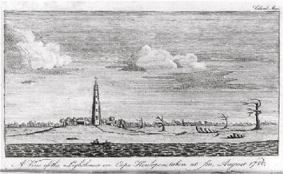 <i>A view of the lighthouse on Cape Henlopen, taken at sea, August 1780</i> image. Click for full size.