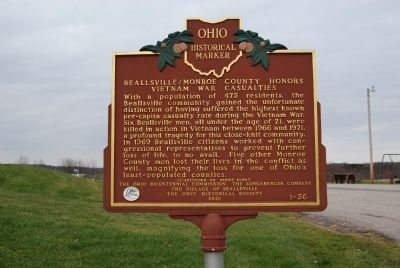 Beallsville / Monroe County Honors Vietnam War Casualities Marker image. Click for full size.