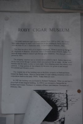 Roby Cigar Museum Marker image. Click for full size.