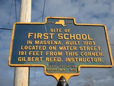 Site of First School in Massena Marker image. Click for full size.