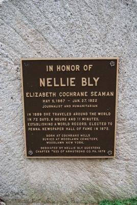 In Honor of Nellie Bly Marker image. Click for full size.