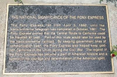 The National Significance of the Pony Express Marker image. Click for full size.