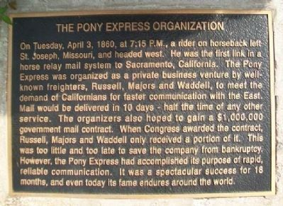 The Pony Express Organization Marker image. Click for full size.