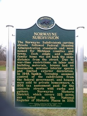 Norwayne Subdivision Marker image. Click for full size.