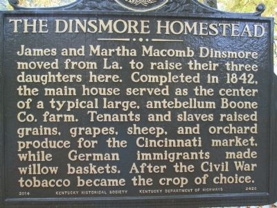 The Dinsmore Homestead Marker image. Click for full size.