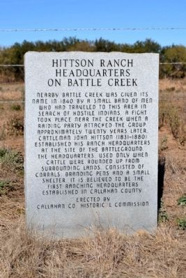 Hittson Ranch Headquarters on Battle Creek Marker image. Click for full size.