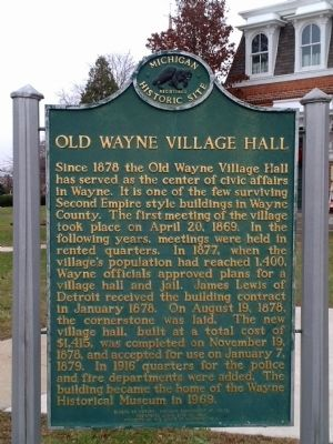Old Wayne Village Hall Marker image. Click for full size.