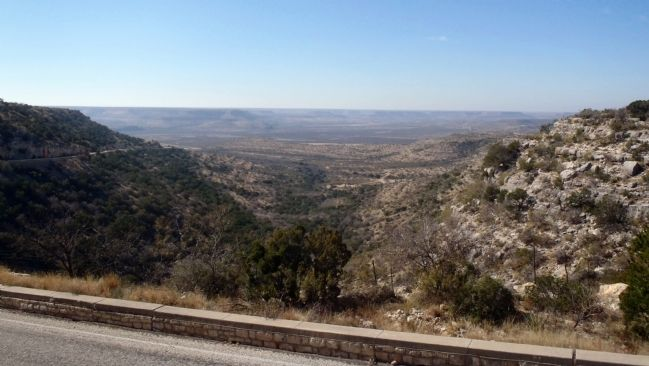 View from marker site of the valley of the Pecos River image. Click for full size.