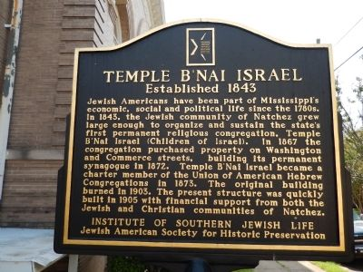 Temple B'Nai Israel Marker image. Click for full size.