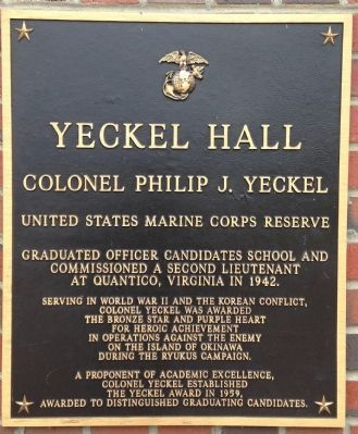 Yeckel Hall Marker image. Click for full size.