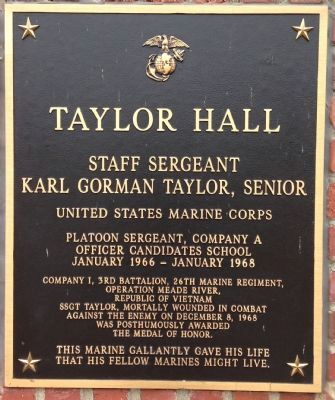 Taylor Hall Marker image. Click for full size.