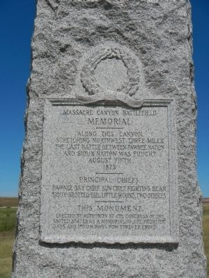 Massacre Canyon Battlefield Memorial inscription image. Click for full size.