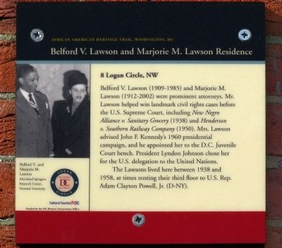 Belford V. Lawson and Marjorie M. Lawson Residence Marker image. Click for full size.