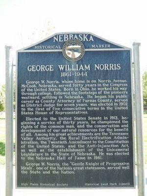 George William Norris Marker image. Click for full size.