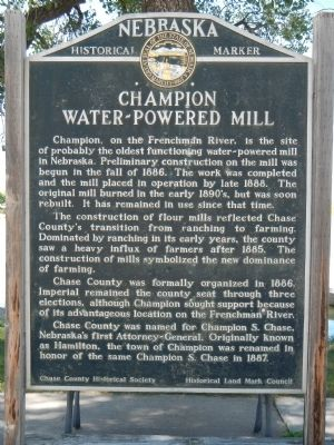 Champion Water-powered Mill Marker image. Click for full size.