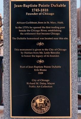 Jean-Baptiste Pointe DuSable Marker image. Click for full size.