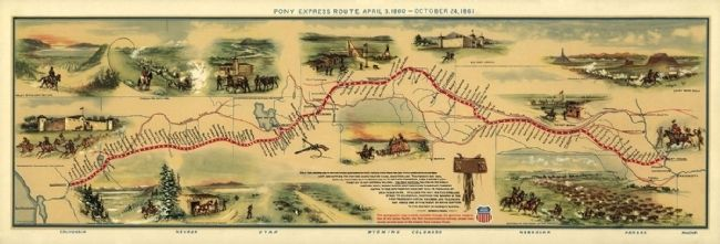 Illustrated Map of Pony Express Route in 1860 by William Henry Jackson image. Click for full size.