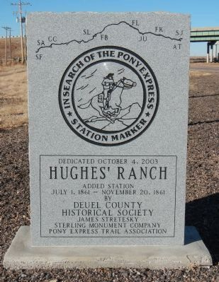 Hughes' Ranch Pony Express Station Marker image. Click for full size.