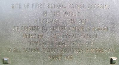 Site of First School Patrol Crossing in the World Marker Detail image. Click for full size.