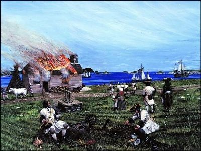 The French Attack Ferryland (detail from the marker) image. Click for full size.