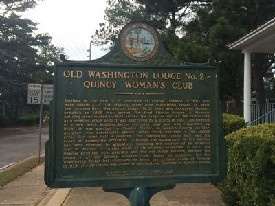 Old Washington Lodge No. 2 ~ Quincy Woman's Club Marker image. Click for full size.