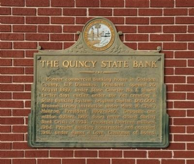 The Quincy State Bank Marker image. Click for full size.