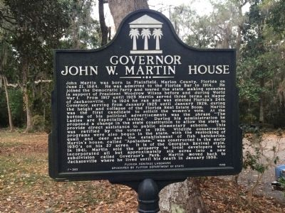 Governor John W. Martin House Marker image. Click for full size.