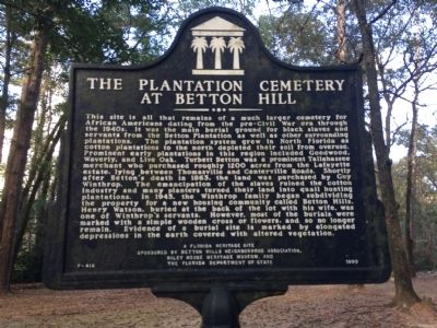 The Plantation Cemetery At Betton Hill Marker image. Click for full size.