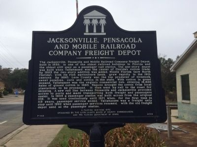 Jacksonville, Pensacola and Mobile Railroad Company Freight Depot Marker image. Click for full size.