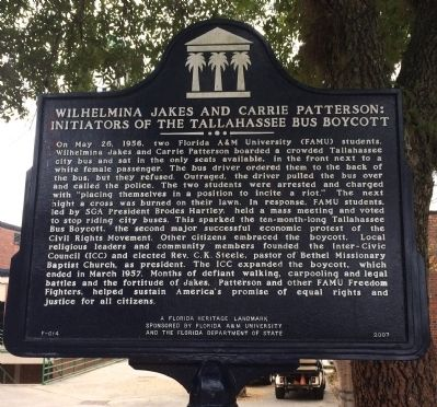 Wilhelmina Jakes And Carrie Patterson: Initiators of The Tallahassee Bus Boycott Marker image. Click for full size.