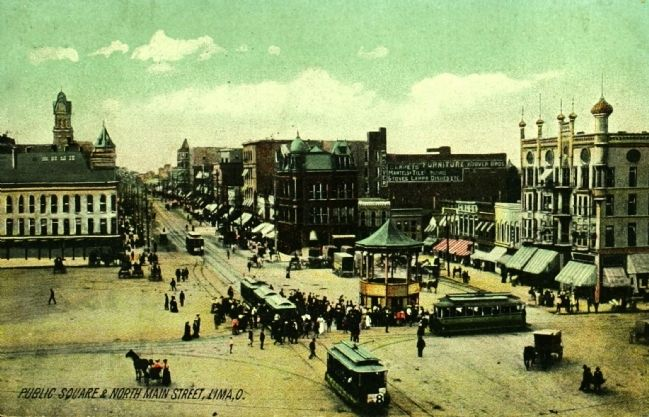<i>Public Square and North Main Street, Lima, O.</i> image. Click for full size.