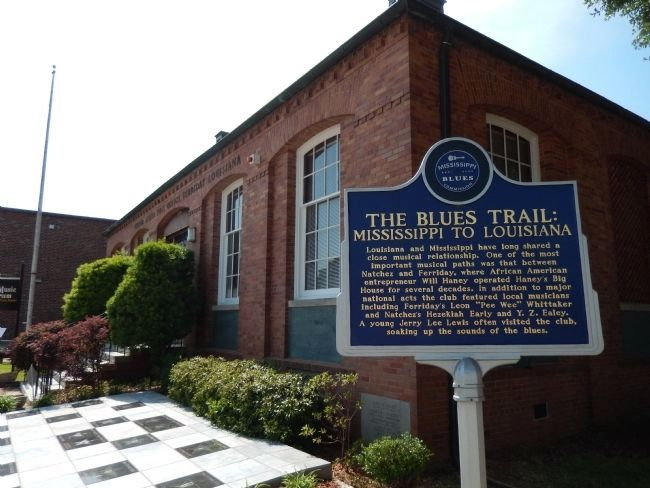 The Blues Trail: Mississippi to Louisiana Marker (<i>wide corner view</i>) image. Click for full size.