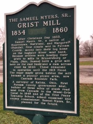 The Samuel Myers, Sr., Grist Mill 1834-1860 Marker image. Click for full size.