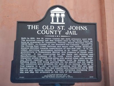 The Old St. Johns County Jail Marker image. Click for full size.