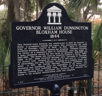 Side 1: Governor William Dunnington Bloxham House 1844 Marker image. Click for full size.