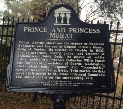 Prince And Princess Murat Marker image. Click for full size.