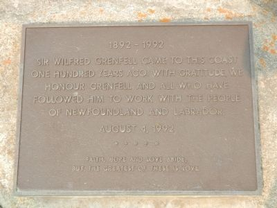 This plaque is located near the Sir Wilfred Thomason Grenfell Marker image. Click for full size.