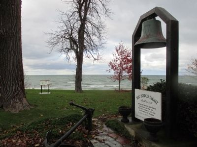Marker in Background. Big Sodus Bay Light Marker at Right. image. Click for full size.